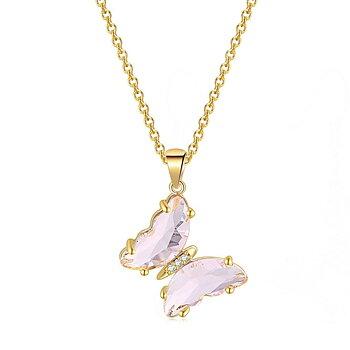 """Halsband """"Butterfly"""" i 18K Guldplätering -Rosa kristaller"""