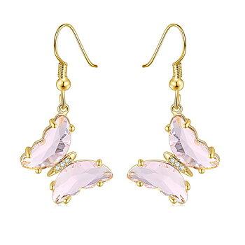 """Örhängen """"Butterfly"""" i 18K Guldplätering -Rosa kristaller"""