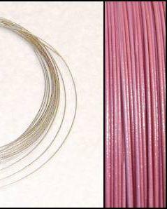 2,2m Wire 0,45mm: Puder ROSA + 20 SP klämpärlor
