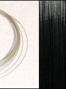 2,2m Wire 0,38mm: BLACK / Svart + 20 SP klämpärlor