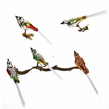 Konstgjorda fåglar med clips GLAS MIX  5-set Längd 12 cm