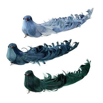 Konstgjorda fåglar med clips BLÅ-GRÖN  Längd 19 cm 3-set