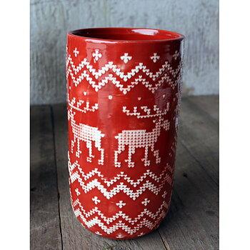 Vas JUL Röd Keramik Höjd 20 cm