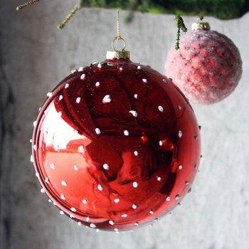 Stor Röd Julgranskula med PRICKAR 15 cm