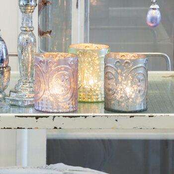 Ljuslykta Värmeljus Glas PASTELL 3-set Höjd 10 cm