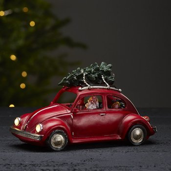 Julbil med LED-belysning VINTAGE BEETLE Röd Längd 25,5 cm