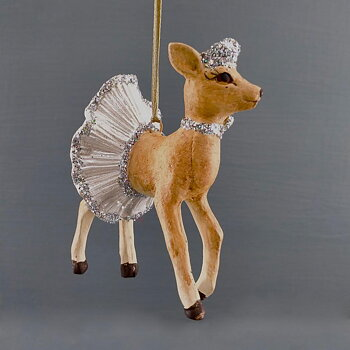 Julgranspynt RÅDJUR Vit kjol Höjd 9 cm