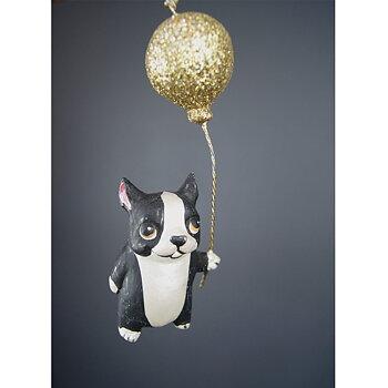 Julgranspynt HUND med  Ballong Guldglitter Höjd 12 cm