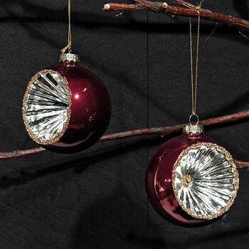 Julgranskulor Halv Mörkröd & Silver 8 cm 2-set
