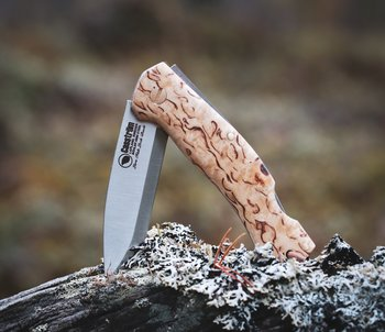 Casström Lars Fält Lock Back folding knife, Curly Birch/Scandi SECOND (17004)