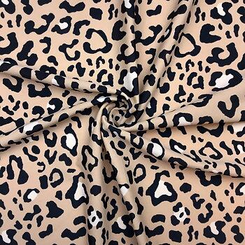 Printed swimwear fabric leopard beige/black WT190leobeige