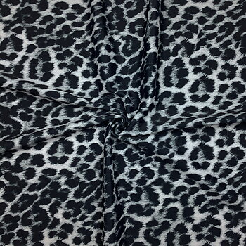 Printed swimwear fabric leopard grey WT190leogrey