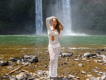 Handmade crochet exclusive wedding dress WHITE