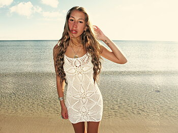 Handmade crochet mini dress WHITE