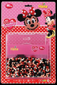 Pärlor och pärlplatta, 1100 stycken pärlor, Disney, Minnie Mouse - Hama