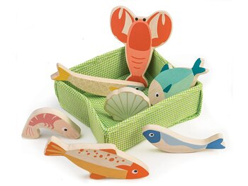 Seafood in basket