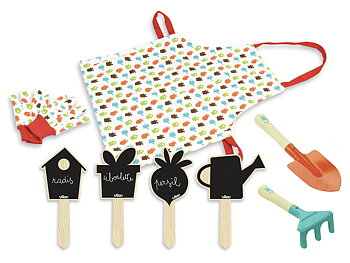 Garden tool set with apron