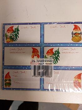 Juladresser - 24 st - ljusblå kant