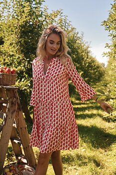 White/red lingonberries dress/tunic