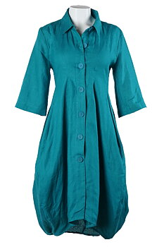 kappklänning petrol linne