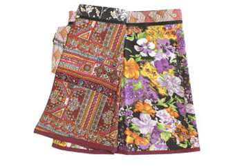 Reversable skirt flowers orange  purple/red orange