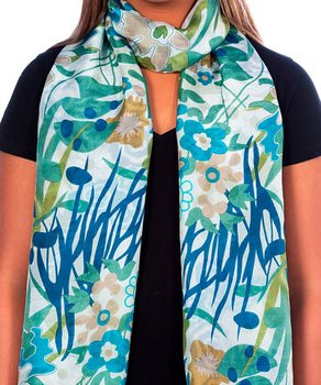 Silkscarf  blooming modern blue
