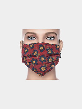 Facemask dark red blooming