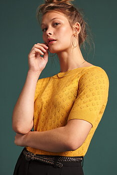 Audrey top heart ajour honey yellow