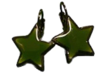 Star Earings Dark Green