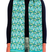 Silkscarf  blooming & leaves greenblue