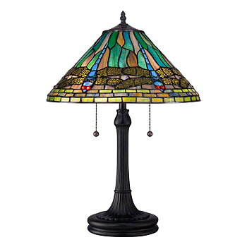 Tiffanylampa Bordslampa Dragon Fly Azure Ø 41cm