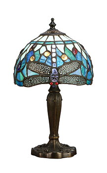 Tiffanylampa Bordslampa Dragonfly Blue Ø 20cm