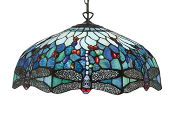 Tiffanylampa Taklampa Dragon Fly Blue Ø 49cm