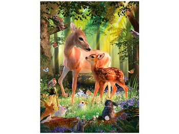 Card 3D Deer at dawn