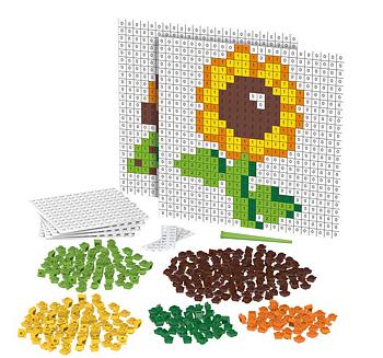 Pixel Mosaik blomma och sköldpadda
