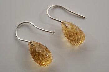 Citrin, fasetterade droppar, örhängen, 925-silver