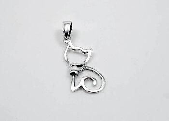 Katt med stjärna, hänge 925-silver