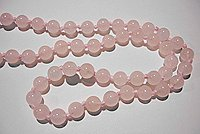 Rosequartz 1m necklace with knots without clasp.