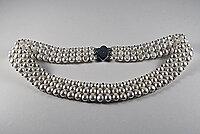 Sötvattenpärlor 3-radigt halsband, 925-silver