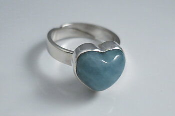JOD Heart aquamarin ring sterling silver