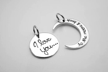 I love you to the moon and back, 2 pendants 925-silver