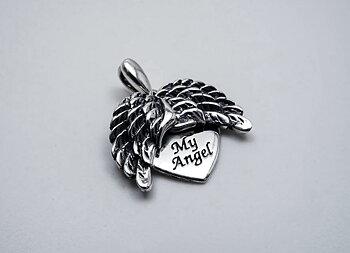 My angel, rörliga vingar- hjärthänge, 925-silver