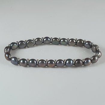 Bracelet cultured freshwaterpearls, dyed 925-silver