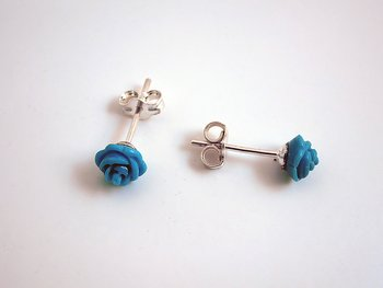 Rose, turquoise, earstick 925-silver