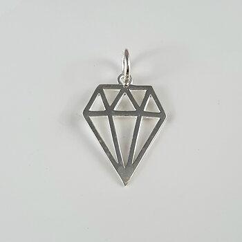 Slipad sten, utsnitt, hänge, 925-silver