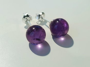 Amethyst 8mm ball earstick 925-silver