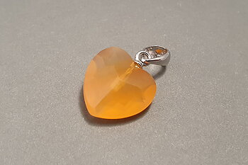 Carnelian ( orange ) fac. heartpendant 925-silver