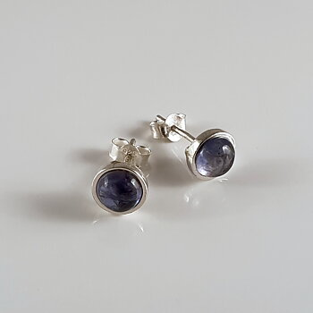 earstick with iolite, sterling silver