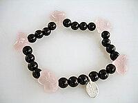 JOD Flower: bracelet onyx + rosequartz
