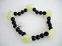 JOD Flower: bracelet onyx +bowenite